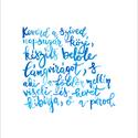 Esküvői idézet kalligráfia türkiz kék betűkkel akvarell - A5 méretű art print (Weöres Sándor vers), Képzőművészet, Illusztráció, Esküvői idézet kalligráfia türkiz kék betűkkel akvarell - A5 méretű art print  Weöres Sándor verse, ..., Meska
