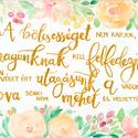 Bölcsesség idézet kalligráfia aranysárga betűkkel akvarell - A5 méretű art print (Marcel Proust idézet), Képzőművészet, Illusztráció, Bölcsesség idézet kalligráfia aranysárga betűkkel akvarell - A5 méretű art print  Marcel Proust, Az ..., Meska