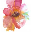 Pink peony akvarell - A5 art print, Képzőművészet, Illusztráció, Festmény, Akvarell, Pink peony akvarell - A5 art print (akvarell festményem alapján)  Méret: 14,8 x21 cm (A5)  Szépséges..., Meska