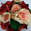 Bordó-rózsaszín menyasszonyi csokor, Esküvő, Dekoráció, Otthon, lakberendezés, Esküvői csokor, Virágkötés, Bordó és rózsaszín selyem rózsákból készült romantikus csokor. A csokor szára beige organzával van ..., Meska