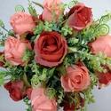 Piros-rózsaszín-zöld menyasszonyi csokor, Esküvő, Dekoráció, Otthon, lakberendezés, Esküvői csokor, Virágkötés, Piros és rózsaszín selyem rózsákból illetve zöldekből készült romantikus csokor. A csokor szára feh..., Meska