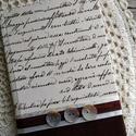 Csokoládébarna kézírásos kis notesz, Naptár, képeslap, album, Dekoráció, Otthon, lakberendezés, Jegyzetfüzet, napló, Decoupage, transzfer és szalvétatechnika, Könyvkötés, Dekupázs technikával készült notesz, emlékkönyv, vagy napló. Mérete: 15,4 x 11 A kemény fedelű a bo..., Meska