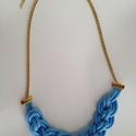 Kék  zsinór nyaklánc, Ékszer, Nyaklánc, Arany dekorláncból és kék színű zsinórból csomózással és készült divatos nyaklánc.  A ..., Meska