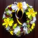 """""""Napsugár"""" ajtókoszorú (28 cm), Dekoráció, Otthon, lakberendezés, Dísz, Ajtódísz, kopogtató, Virágkötés, Egyedi, tartós kopogtatót készítettem, amely tavasztól késő őszig díszítheti otthonodat.  A szalmak..., Meska"""