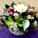 Virágcsokor kaspóban KÉSZTERMÉK, Dekoráció, Otthon, lakberendezés, Dísz, Asztaldísz, Egy nagyon szép kerámia kaspóba készítettem el ezt a tartós díszt, mely gyönyörű ajándék lehet bármi..., Meska