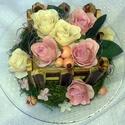 """""""Rusztikus rózsakert"""" asztaldísz, Dekoráció, Otthon, lakberendezés, Dísz, Asztaldísz, Egyedi díszt készítettem tartós anyagokból. Különleges rusztikus rózsákat """"ültettem""""  egy ..., Meska"""