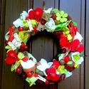 Katicás kopogtató (23 cm), Dekoráció, Otthon, lakberendezés, Dísz, Ajtódísz, kopogtató, Virágkötés, Mindenmás, Vidám kopogtatót készítettem fehér, piros és zöld színekkel, termésekkel, virágokkal és kis fa kati..., Meska