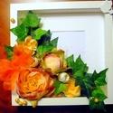 Virágdoboz / kép pünkösdi rózsával és borostyánnal (25 x 25 cm), Dekoráció, Otthon, lakberendezés, Dísz, Falikép, Egy mély képkeretbe készítettem el ezt a díszt, mely polcra tehető vagy falra akasztható.  A fa alap..., Meska
