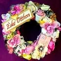 """""""Nyári"""" kopogtató  (23 cm), Dekoráció, Otthon, lakberendezés, Dísz, Ajtódísz, kopogtató, Vidám hangulatú koszorút készítettem fagyi színekben rusztikus rózsákkal, csipkékkel, egy kis rózsas..., Meska"""