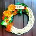 Őszi vesszőkoszorú (25 cm), Dekoráció, Otthon, lakberendezés, Dísz, Ajtódísz, kopogtató, Virágkötés, Egy 25 cm-es vesszőkoszorút díszítettem mű virágokkal, zöldekkel, borostyánnal, szizállal, fa táblá..., Meska