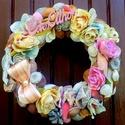 Pasztell rózsás kopogtató (21 cm), Dekoráció, Otthon, lakberendezés, Dísz, Ajtódísz, kopogtató, Vintage stílusú kopogtatót készítettem pasztell színű rózsákkal és termésekkel.  A szalma..., Meska