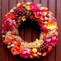 """""""Őszi bőség"""" ajtókoszorú (26 cm), Dekoráció, Otthon, lakberendezés, Dísz, Ajtódísz, kopogtató, Őszi koszorút készítettem gazdagon díszítve  gyümölcsökkel és termésekkel.   A szalmakoszorú alapot ..., Meska"""