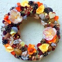 Őszi koszorú  - nagy méret (28 cm) , Dekoráció, Otthon, lakberendezés, Dísz, Ajtódísz, kopogtató, Őszi kopogtatót készítettem rusztikus barack, halvány sárga és narancs színű virágokkal é..., Meska