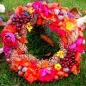 """""""Őszi bőség"""" ajtókoszorú (26 cm), Dekoráció, Otthon, lakberendezés, Dísz, Ajtódísz, kopogtató, Virágkötés, Őszi koszorút készítettem gazdagon díszítve  gyümölcsökkel és termésekkel.   A szalmakoszorú alapot..., Meska"""