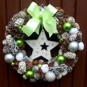 Csillagos ünnepváró kopogtató (22 cm), Dekoráció, Ünnepi dekoráció, Karácsonyi, adventi apróságok, Karácsonyi dekoráció, Virágkötés, Karácsonyváró kopogtatót készítettem fehér fa csillaggal, festett  és natúr tobozokkal, díszgömbökk..., Meska