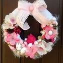 Nyuszis húsvéti/tavaszi kopogtató  (23 cm) KÉSZTERMÉK, Dekoráció, Húsvéti díszek, Otthon, lakberendezés, Ünnepi dekoráció, Húsvéti kopogtatót készítettem a rózsaszín árnyalataival és egy édes kis nyuszival.  A szalmakoszorú..., Meska