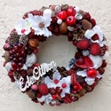 """""""Piros gyümölcsös"""" kopogtató (22 cm), Dekoráció, Otthon, lakberendezés, Dísz, Ajtódísz, kopogtató, A bordó és fehér színek találkozása mindig nagyon mutatós, ezt a kopogtatót piros gyümölcsökkel tett..., Meska"""