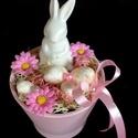 Nyuszis húsvéti asztaldísz rózsaszín KÉSZTERMÉK, Dekoráció, Otthon, lakberendezés, Dísz, Asztaldísz, Elegáns, visszafogott húsvéti asztaldíszt készítettem.kerámia nyuszival.  A kerámia kaspót styroporr..., Meska
