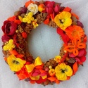 """""""Tavaszi napsugár"""" kopogtató nagy méret (26 cm) KÉSZTERMÉK, Dekoráció, Otthon, lakberendezés, Dísz, Ajtódísz, kopogtató, Tavaszi koszorút készítettem gazdagon díszítve  termésekkel és virágokkal.  A szalmakoszorú alapot n..., Meska"""