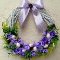Tavaszi / húsvéti vesszőkoszorú (25 cm) KÉSZTERMÉK, Dekoráció, Otthon, lakberendezés, Dísz, Ajtódísz, kopogtató, Ezt a tavaszi koszorút vesszőalapra készítettem lila virágokkal, dekor tojásokkal és masnival.  Az a..., Meska