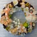 Balerinás kopogtató (23 cm)  barack KÉSZTERMÉK, Dekoráció, Baba-mama-gyerek, Dísz, Gyerekszoba, Tavaszi-nyári kopogtatót készítettem halvány barack és fehér virágokkal, termésekkel és egy gyönyörű..., Meska