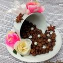 Kávészemes dekoráció porcelán, Dekoráció, Anyák napja, Otthon, lakberendezés, Dísz, Egyedi, különleges kávészemes díszt készítettem porcelán csészéből és tányérból sok-s..., Meska