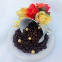 Kávészemes dekoráció porcelán (KÉSZTERMÉK), Dekoráció, Otthon, lakberendezés, Dísz, Asztaldísz, Egyedi, különleges kávészemes díszt készítettem porcelán csészéből és tányérból sok-s..., Meska
