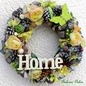Pasztell kopogtató nagy méret (28 cm) , Dekoráció, Otthon, lakberendezés, Dísz, Ajtódísz, kopogtató, Koszorút készítettem virágokkal, termésekkel, fa pillangóval és felirattal.   A szalmakoszorú alapot..., Meska