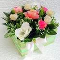 Nagy méretű virágbox rózsákkal (KÉSZTERMÉK), Dekoráció, Otthon, lakberendezés, Dísz, Asztaldísz, Egyedi, rusztikus virágboxot készítettem gyönyörű élethű vajszín, fehér és pink rózsákkal. Csak tart..., Meska