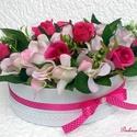 Hortenzia/rózsa virágbox ovális  (KÉSZTERMÉK), Dekoráció, Otthon, lakberendezés, Dísz, Asztaldísz, Egyedi virágboxot készítettem gyönyörű élethű halvány rózsaszín hortenziákkal, pink rózsákkal és zöl..., Meska