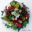 Őszi bőségtál asztaldísz (21 cm) KÉSZTERMÉK, Dekoráció, Otthon, lakberendezés, Dísz, Asztaldísz, Őszi asztaldíszt készítettem festett üvegtálra sok terméssel, virággal, szőlővel, gombáva..., Meska