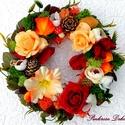 Őszi koszorú asztaldísz/kopogtató (24 cm) RENDELHETŐ, Dekoráció, Otthon, lakberendezés, Dísz, Ajtódísz, kopogtató, Őszi koszorút készítettem gazdagon díszítve termésekkel, virágokkal, melyet asztaldíszként..., Meska