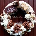 Egyedi őszi kopogtató  csipkével (27 cm) KÉSZTERMÉK, Dekoráció, Otthon, lakberendezés, Dísz, Ajtódísz, kopogtató, Vintage stílusú kopogtatót készítette, gyönyörű horgolt csipkével, termésekkel, virágokka..., Meska