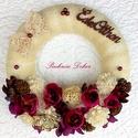 PADLIZSÁN ajtódísz (25 cm) KÉSZTERMÉK, Dekoráció, Otthon, lakberendezés, Dísz, Ajtódísz, kopogtató, Virágkötés, Ajtódísz padlizsán és lila virágokkal, ming virágfejekkel, bakuli tetrmésekkel, tobozokkal, szizáll..., Meska