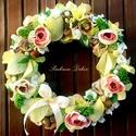 """""""LIME"""" kopogtató cukrozott gyümölccsel nagy méret (26 cm) KÉSZTERMÉK, Dekoráció, Otthon, lakberendezés, Dísz, Ajtódísz, kopogtató, Mindenmás, Virágkötés, Dekor cukrozott citrom szeletek adják a kopogtató különlegességét, melyhez pasztell színű  virágoka..., Meska"""