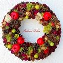 ALMÁS-SZŐLŐS őszi terméskoszorú ajtódísz (27,5 cm) KÉSZTERMÉK, Dekoráció, Otthon, lakberendezés, Ajtódísz, kopogtató, Dísz, Virágkötés, Nagy méretű őszi ajtódísz piros almákkal, szőlővel termésekkel tobozokkal.  A szalma alapot textill..., Meska
