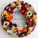 """""""ŐSZUTÓ"""" ajtódísz nagy méret (27 cm) KÉSZTERMÉK, Dekoráció, Otthon, lakberendezés, Dísz, Ajtódísz, kopogtató, Virágkötés, Őszi színvilágú kopogtató tobozokkal, mini tök terméssel, dekor gombákkal, selymvirággal, magokkal,..., Meska"""