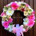 ÁRVÁCSKÁS tavaszi kopogtató (28 cm) KÉSZTERMÉK, Dekoráció, Otthon, lakberendezés, Dísz, Ajtódísz, kopogtató, Mindenmás, Virágkötés, Igazán üde tavaszi kopogtató  gyönyörű élethű fehér és rózsaszín árvácskákkal, mahagony fa szeletek..., Meska