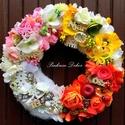 """""""Négy évszak"""" kopogtató (28 cm) RENDELHETŐ, Dekoráció, Otthon, lakberendezés, Dísz, Ajtódísz, kopogtató, Virágkötés, A négy évszakot idéző kopogtatót készítettem virágokkal, termésekkel.  A szalma alapot vászonnal te..., Meska"""