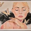 Alinda álma, Művészet, Festmény, Akril, Festett tárgyak, 100x70 cm , feher keretben lévő festmény.  Saját alkotás .Akrillal készült.  Ha az otthonomról álmo..., Meska