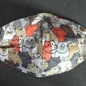 Színes cicás arcmaszk, szájmaszk, Textil arcmaszk, 2 rétegű, mindkét réteg pamut...