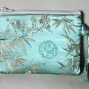 Kínai selyem kistáska, színházi táska, mentazöld leveles, Kínai selyemből készült kistáska, színházi ...