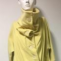 Sárga szövet kabát, Ruha, divat, cipő, Női ruha, Poncsó, Kabát, Varrás, Akció!  A kabát korábbi ára: 45500Ft volt, most a Tiéd lehet: 22500Ft-ért.  A kabát selyem béléssel..., Meska