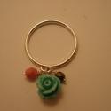 rózsás ezüst gyűrű, Ékszer, Gyűrű, 925-ös finomságú ezüstből készült  gyűrű, egy rózsaszín és egy színjátszó fekete üve..., Meska
