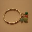 ezüst gyűrű üveggyönggyel, Ékszer, Gyűrű, 925-ös finomságú ezüstből készült gyűrű, négy pasztell színű (világoskék,zöld,rózsas..., Meska