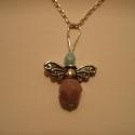 angyal medál, Ékszer, Medál, 925-ös finomságú ezüstből készült angyalka medál (lánc nélkül!), lila üveggyöngy szokny..., Meska