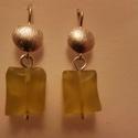 ezüst zöld jáde fülbevaló, Ékszer, Gyűrű, 925-ös finomságú ezüstből készült, szögletes csiszolt jádékkal. teljes hossza: 3cm, Meska