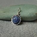 ezüst virág medál lápisz lazulival, 925-ös finomságú ezüstből készült, sokszirm...