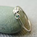turmalin-virágos ezüst gyűrű   , 925-ös finomságú ezüstből készült 0,9mm-es ...