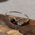 """ametiszt-virágos ezüst gyűrű """"kicsikato"""" részére, 925-ös finomságú ezüstből készült 0,9mm-es ..."""